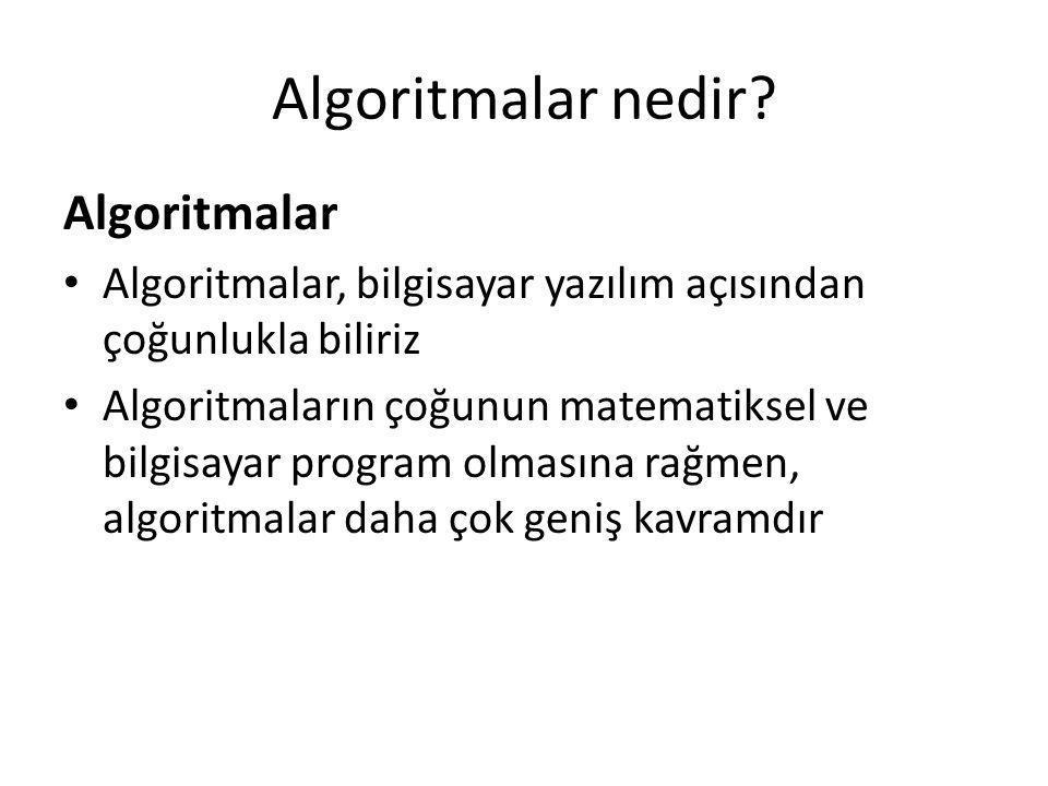 Algoritmalar nedir Algoritmalar