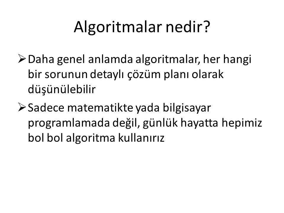 Algoritmalar nedir Daha genel anlamda algoritmalar, her hangi bir sorunun detaylı çözüm planı olarak düşünülebilir.