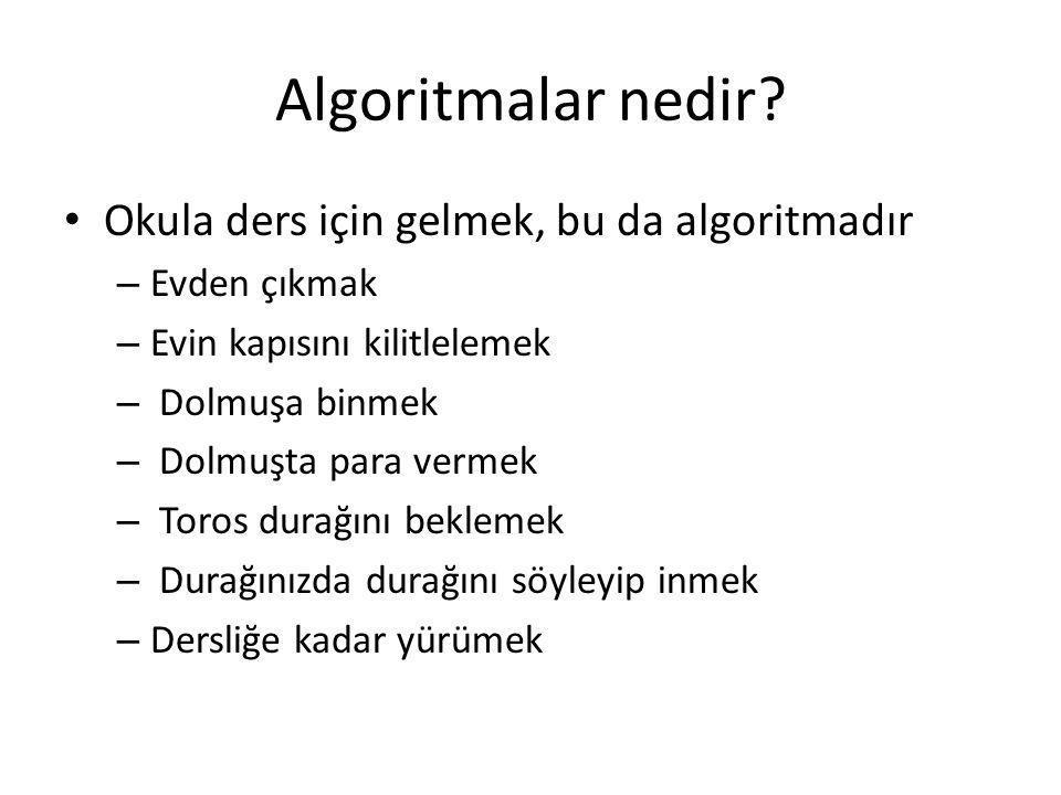 Algoritmalar nedir Okula ders için gelmek, bu da algoritmadır