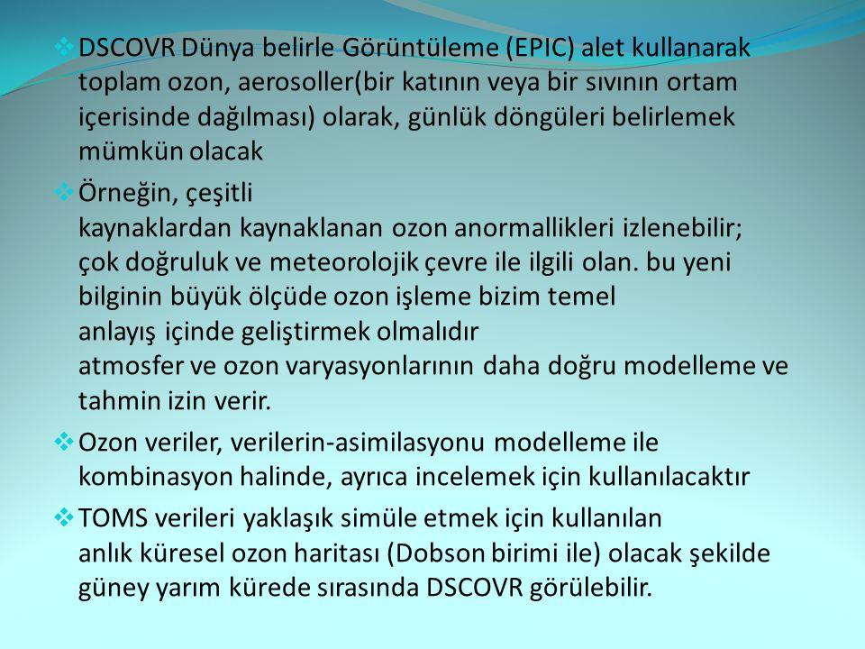 DSCOVR Dünya belirle Görüntüleme (EPIC) alet kullanarak toplam ozon, aerosoller(bir katının veya bir sıvının ortam içerisinde dağılması) olarak, günlük döngüleri belirlemek mümkün olacak