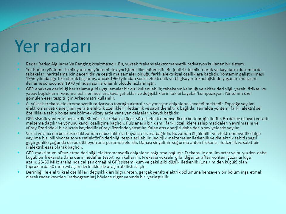 Yer radarı Radar Radyo Algılama Ve Ranging kısaltmasıdır. Bu, yüksek frekans elektromanyetik radyasyon kullanan bir sistem.