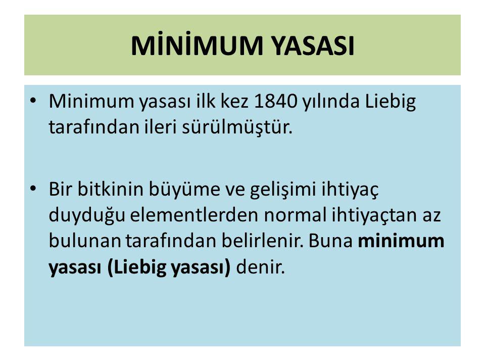 MİNİMUM YASASI Minimum yasası ilk kez 1840 yılında Liebig tarafından ileri sürülmüştür.
