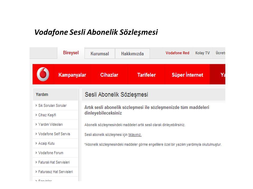 Vodafone Sesli Abonelik Sözleşmesi