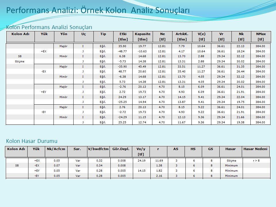 Performans Analizi: Örnek Kolon Analiz Sonuçları