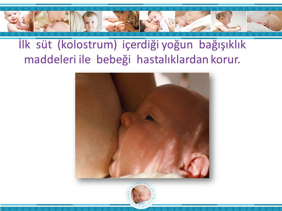 İlk süt (kolostrum) içerdiği yoğun bağışıklık maddeleri ile bebeği hastalıklardan korur.