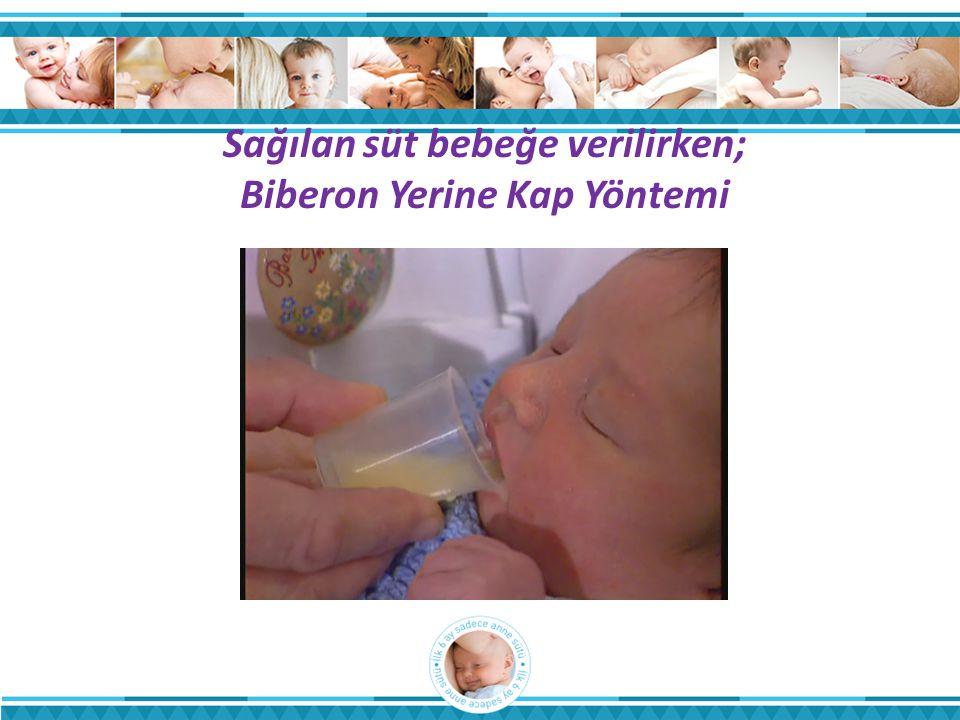 Sağılan süt bebeğe verilirken; Biberon Yerine Kap Yöntemi