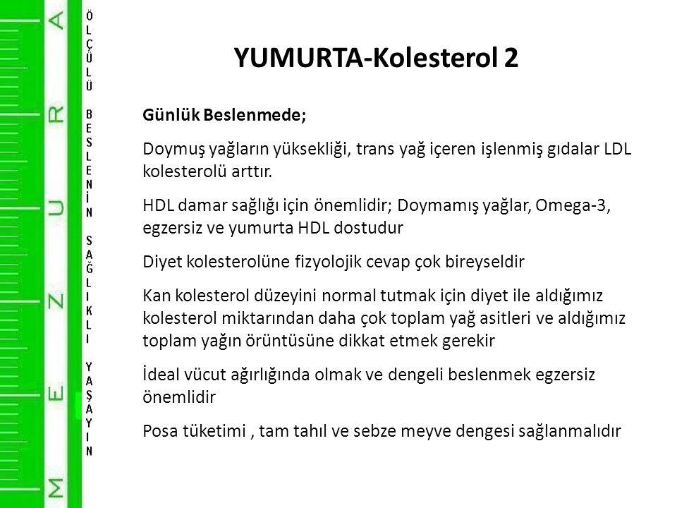 YUMURTA-Kolesterol 2 Günlük Beslenmede;