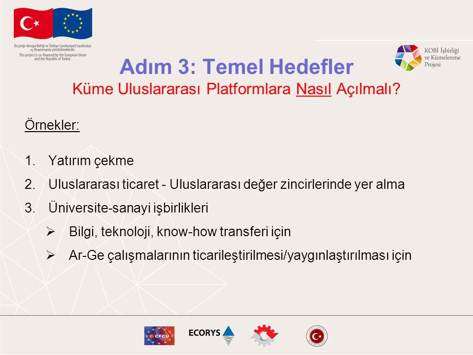 Adım 3: Temel Hedefler Küme Uluslararası Platformlara Nasıl Açılmalı