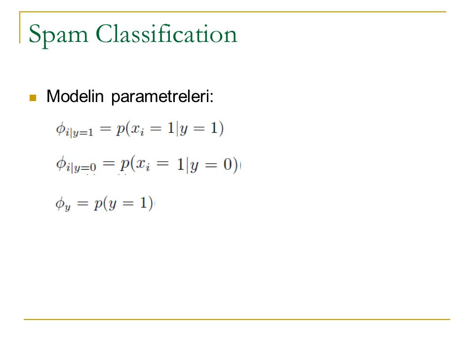 Spam Classification Modelin parametreleri: