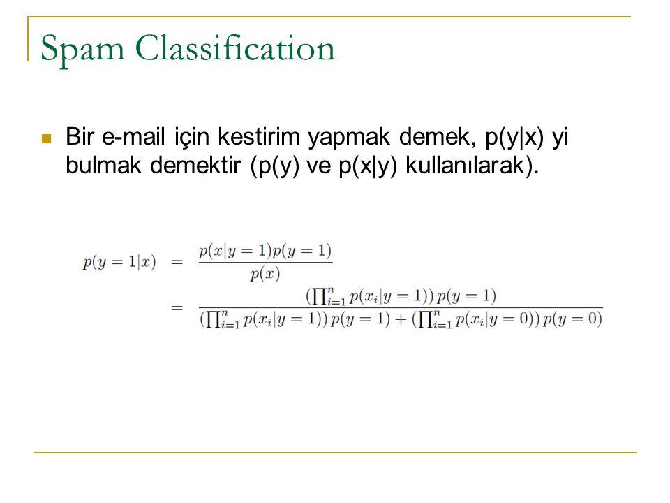 Spam Classification Bir e-mail için kestirim yapmak demek, p(y|x) yi bulmak demektir (p(y) ve p(x|y) kullanılarak).