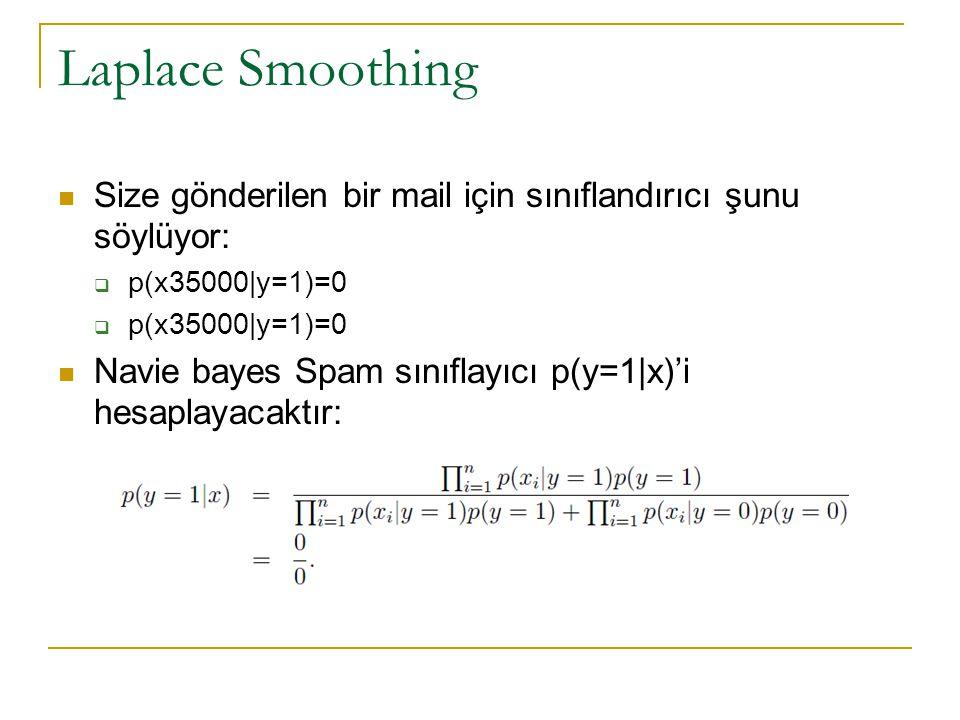 Laplace Smoothing Size gönderilen bir mail için sınıflandırıcı şunu söylüyor: p(x35000|y=1)=0.