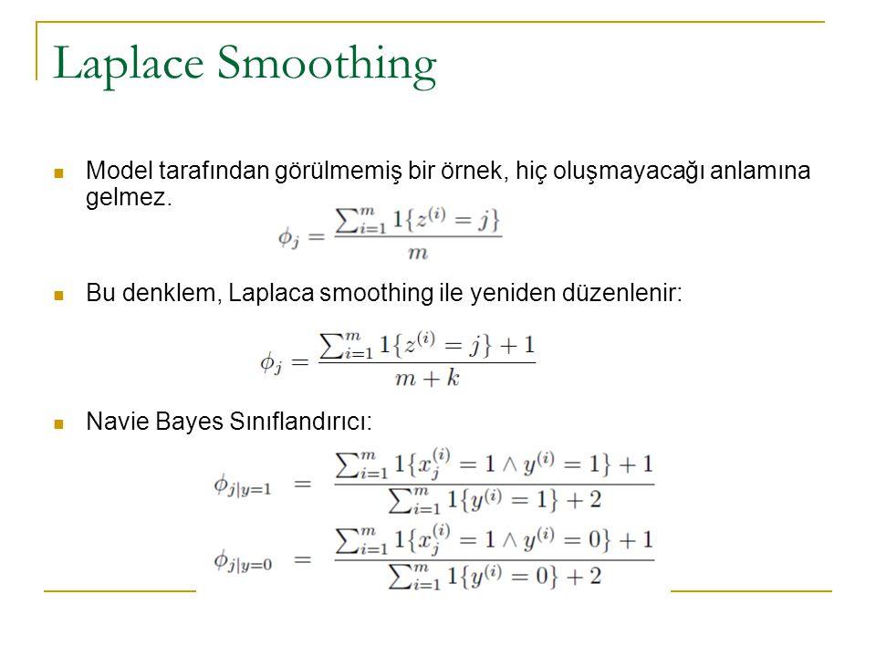 Laplace Smoothing Model tarafından görülmemiş bir örnek, hiç oluşmayacağı anlamına gelmez. Bu denklem, Laplaca smoothing ile yeniden düzenlenir: