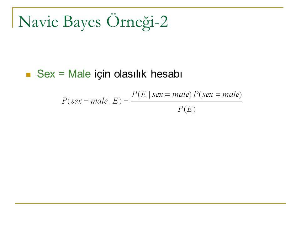 Navie Bayes Örneği-2 Sex = Male için olasılık hesabı