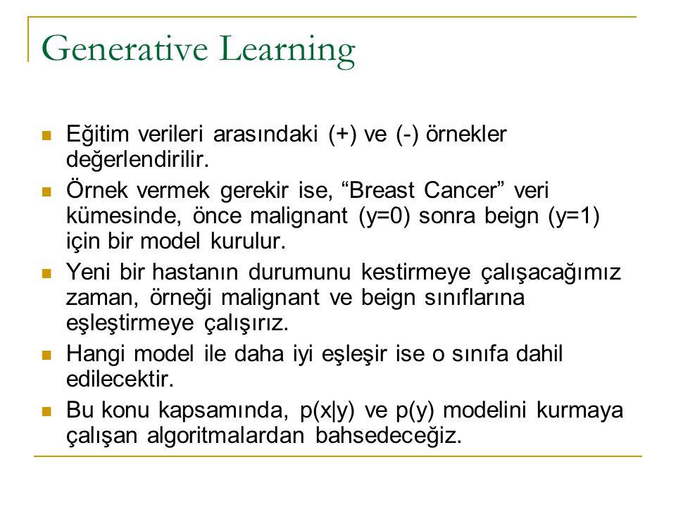 Generative Learning Eğitim verileri arasındaki (+) ve (-) örnekler değerlendirilir.