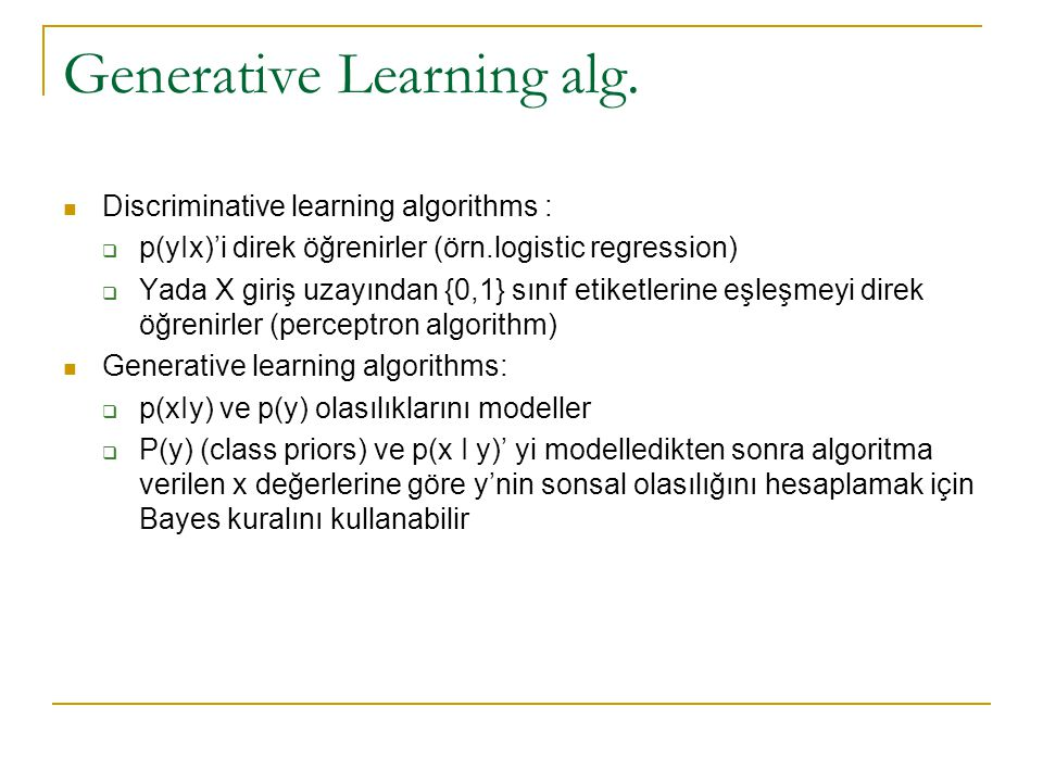 Generative Learning alg.