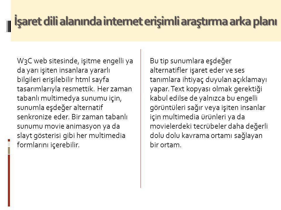 İşaret dili alanında internet erişimli araştırma arka planı