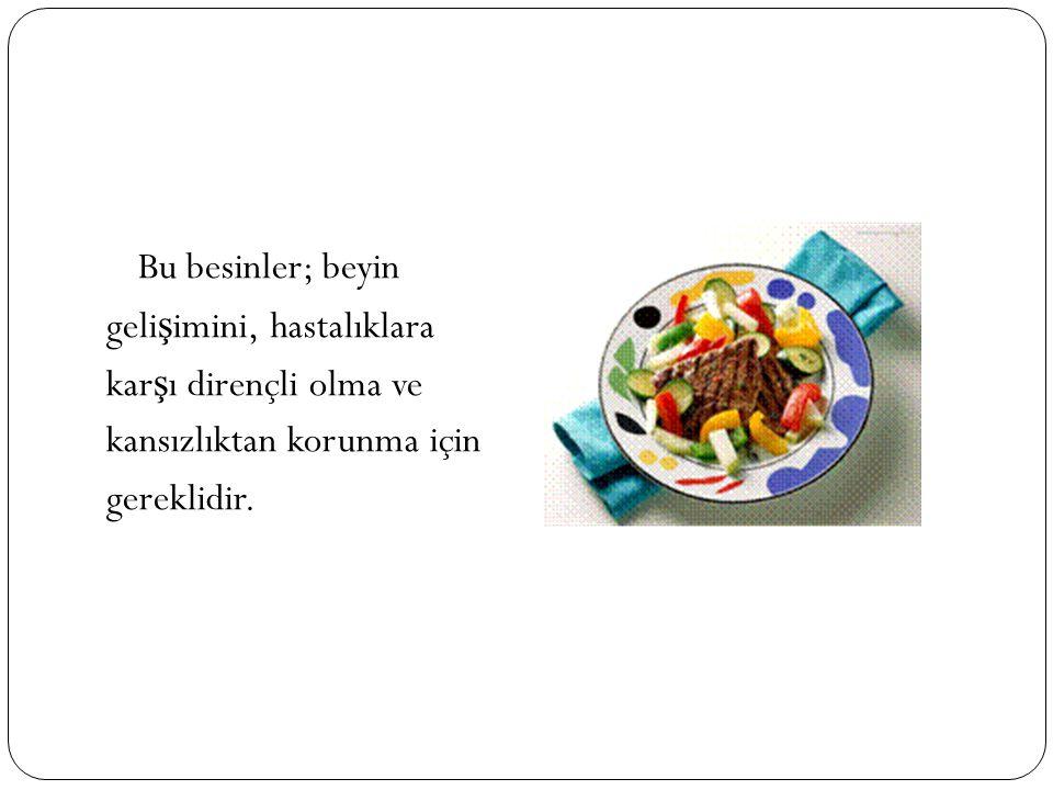 Bu besinler; beyin gelişimini, hastalıklara. karşı dirençli olma ve.