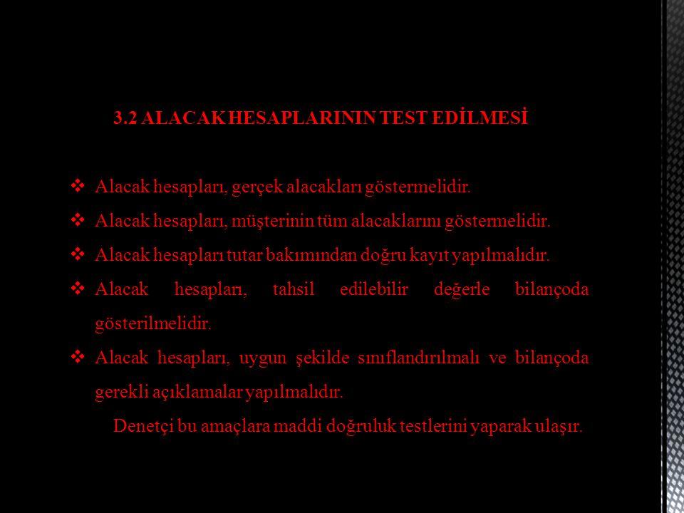 3.2 ALACAK HESAPLARININ TEST EDİLMESİ