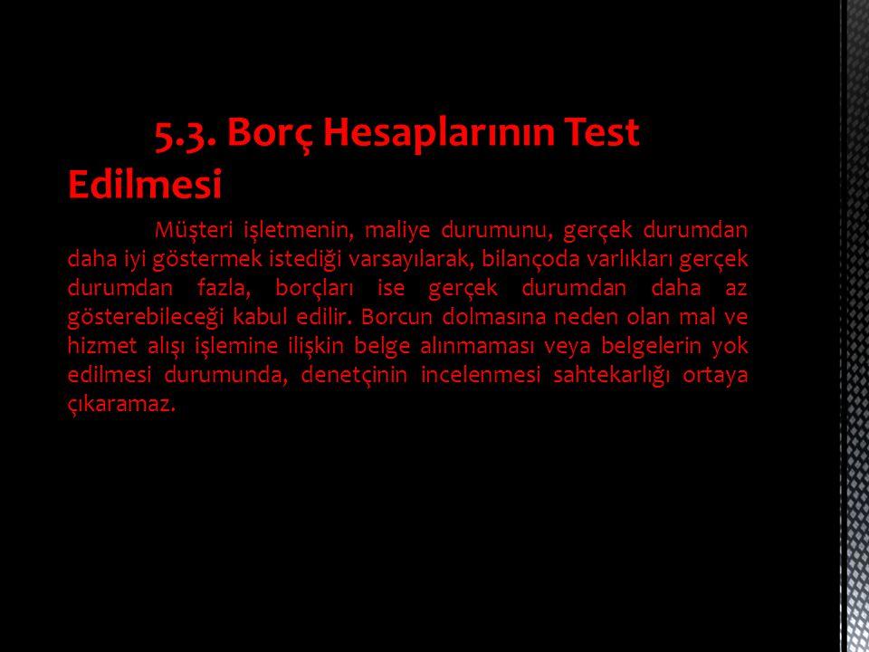 5.3. Borç Hesaplarının Test Edilmesi