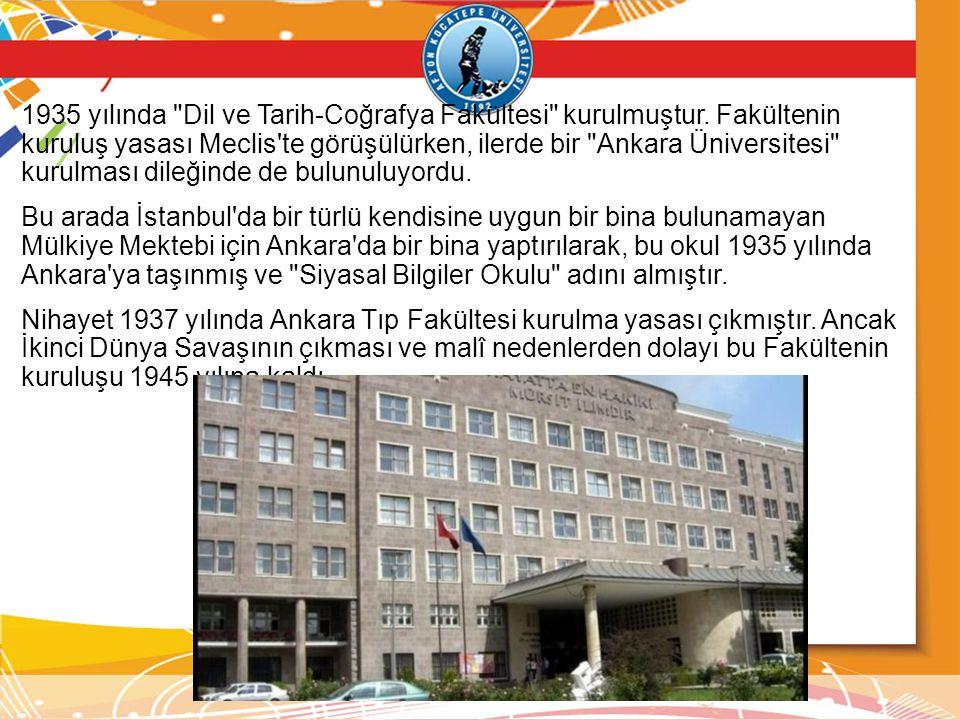 1935 yılında Dil ve Tarih-Coğrafya Fakültesi kurulmuştur