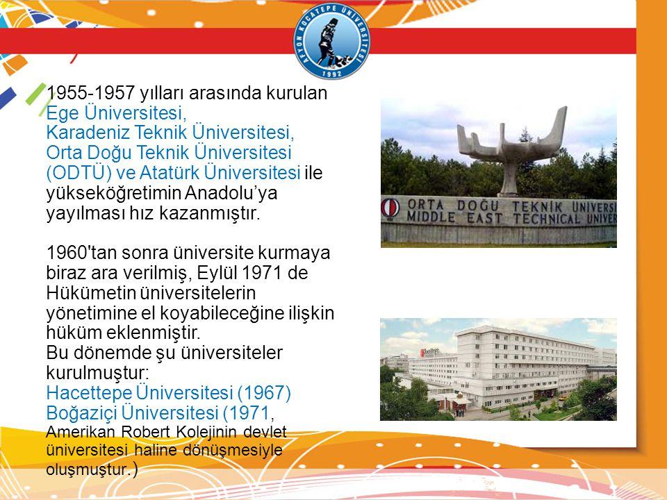 1955-1957 yılları arasında kurulan