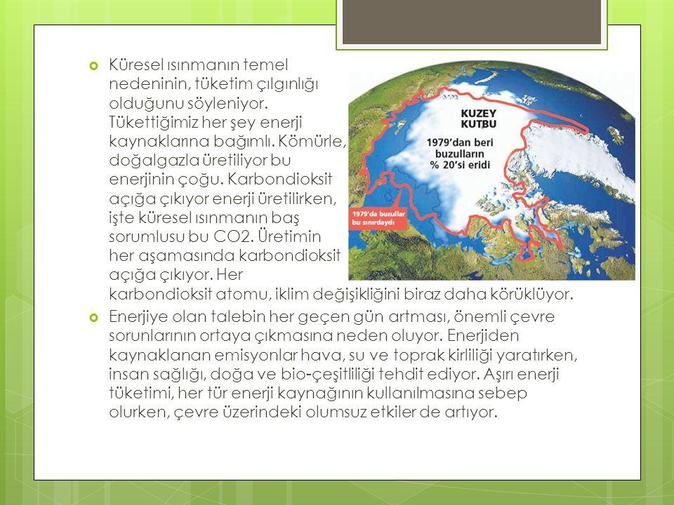 Küresel ısınmanın temel nedeninin, tüketim çılgınlığı olduğunu söyleniyor. Tükettiğimiz her şey enerji kaynaklarına bağımlı. Kömürle, doğalgazla üretiliyor bu enerjinin çoğu. Karbondioksit açığa çıkıyor enerji üretilirken, işte küresel ısınmanın baş sorumlusu bu CO2. Üretimin her aşamasında karbondioksit açığa çıkıyor. Her karbondioksit atomu, iklim değişikliğini biraz daha körüklüyor.