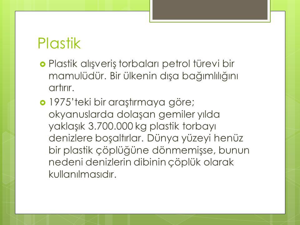 Plastik Plastik alışveriş torbaları petrol türevi bir mamulüdür. Bir ülkenin dışa bağımlılığını artırır.