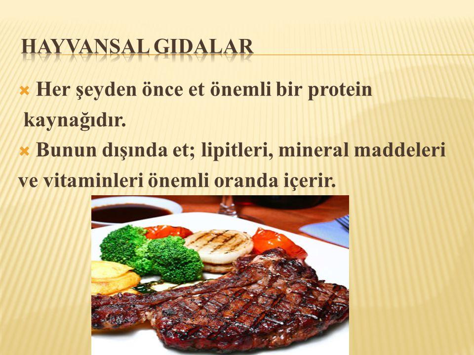 Hayvansal GIdalar Her şeyden önce et önemli bir protein. kaynağıdır. Bunun dışında et; lipitleri, mineral maddeleri.