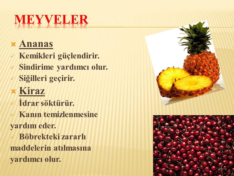 Meyveler Ananas Kiraz Kemikleri güçlendirir. Sindirime yardımcı olur.