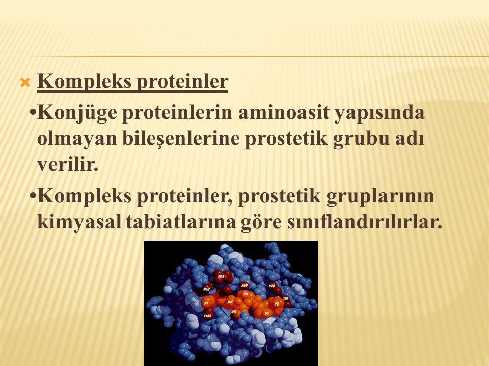 Kompleks proteinler •Konjüge proteinlerin aminoasit yapısında olmayan bileşenlerine prostetik grubu adı verilir.