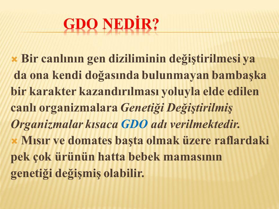 gdo nEDİR Bir canlının gen diziliminin değiştirilmesi ya