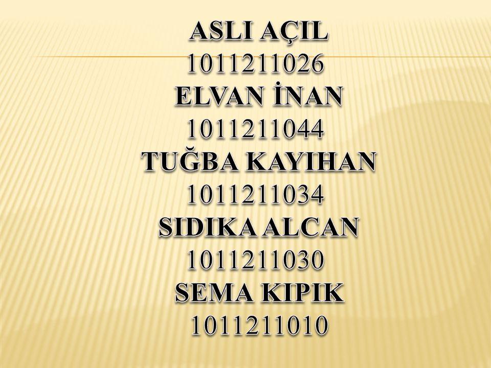 ASLI AÇIL 1011211026. ELVAN İNAN. 1011211044. TUĞBA KAYIHAN. 1011211034. SIDIKA ALCAN. 1011211030.