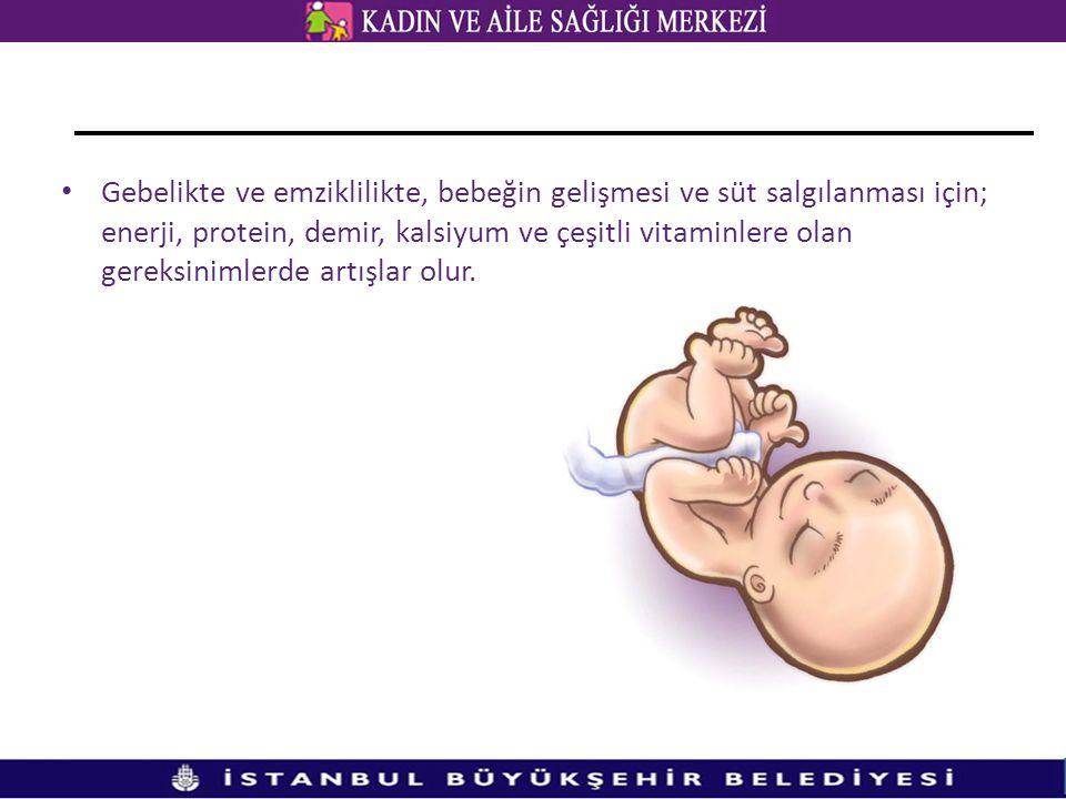 Gebelikte ve emziklilikte, bebeğin gelişmesi ve süt salgılanması için; enerji, protein, demir, kalsiyum ve çeşitli vitaminlere olan gereksinimlerde artışlar olur.