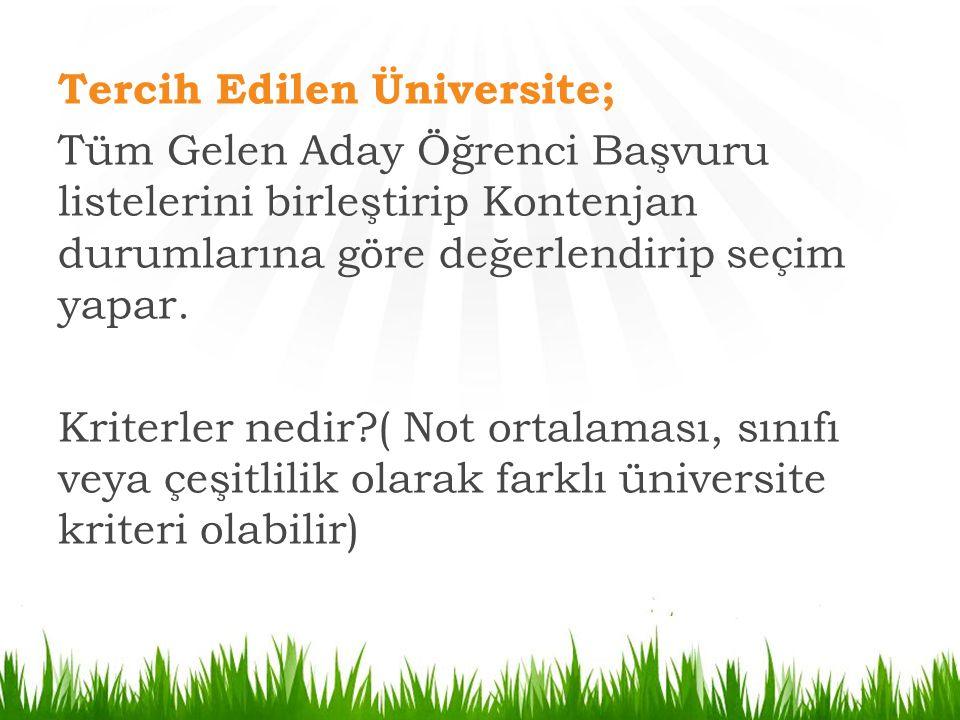Tercih Edilen Üniversite; Tüm Gelen Aday Öğrenci Başvuru listelerini birleştirip Kontenjan durumlarına göre değerlendirip seçim yapar.