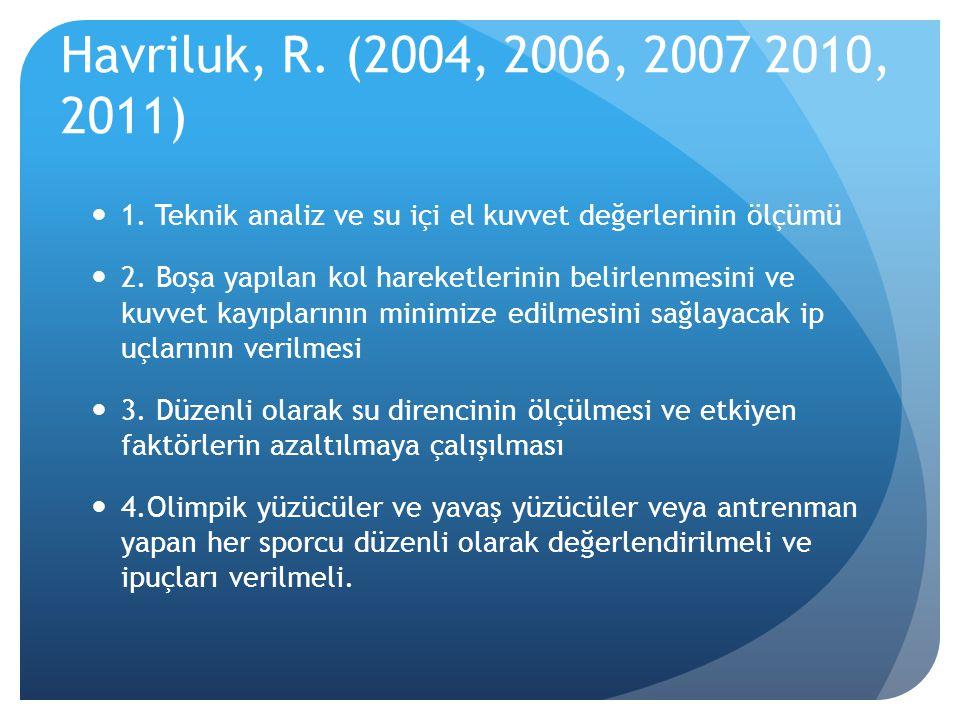 Havriluk, R. (2004, 2006, 2007 2010, 2011) 1. Teknik analiz ve su içi el kuvvet değerlerinin ölçümü.