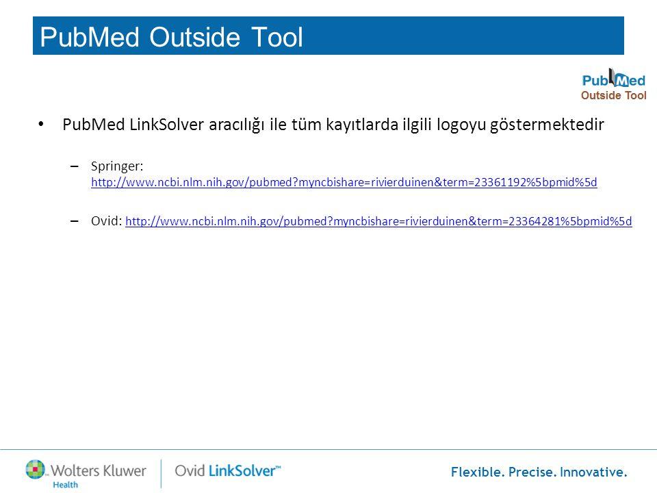 PubMed Outside Tool PubMed LinkSolver aracılığı ile tüm kayıtlarda ilgili logoyu göstermektedir.