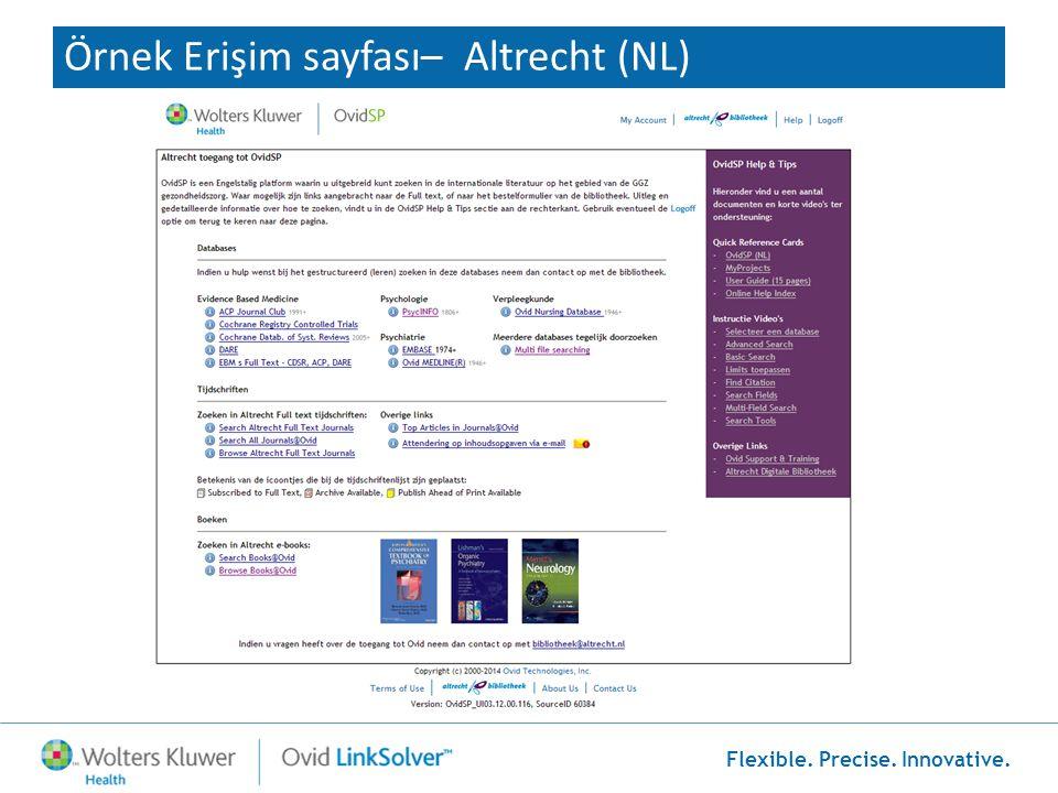 Örnek Erişim sayfası– Altrecht (NL)