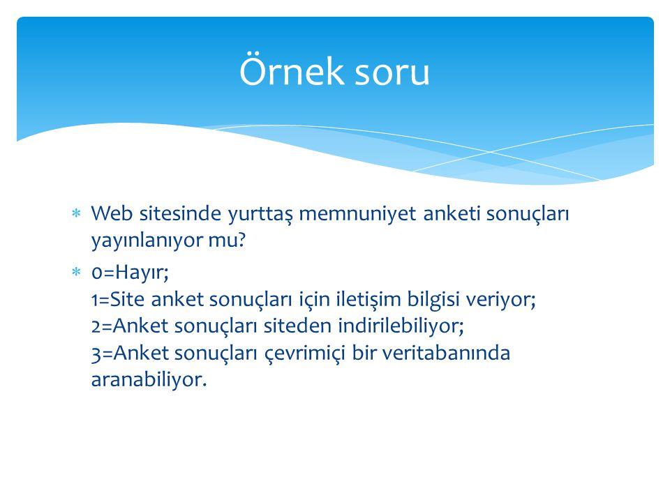 Örnek soru Web sitesinde yurttaş memnuniyet anketi sonuçları yayınlanıyor mu