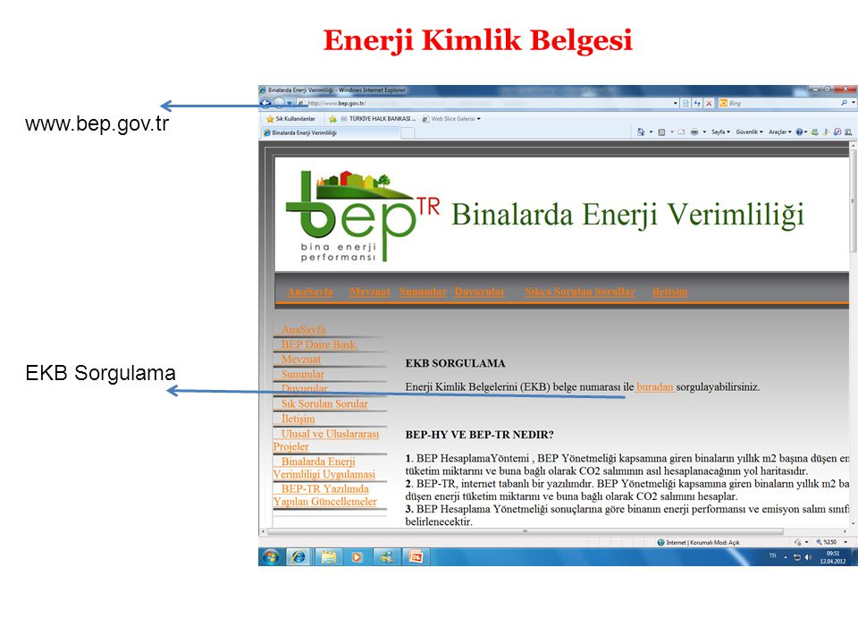 Enerji Kimlik Belgesi www.bep.gov.tr EKB Sorgulama