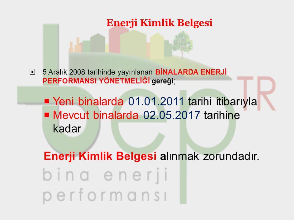 Yeni binalarda 01.01.2011 tarihi itibarıyla