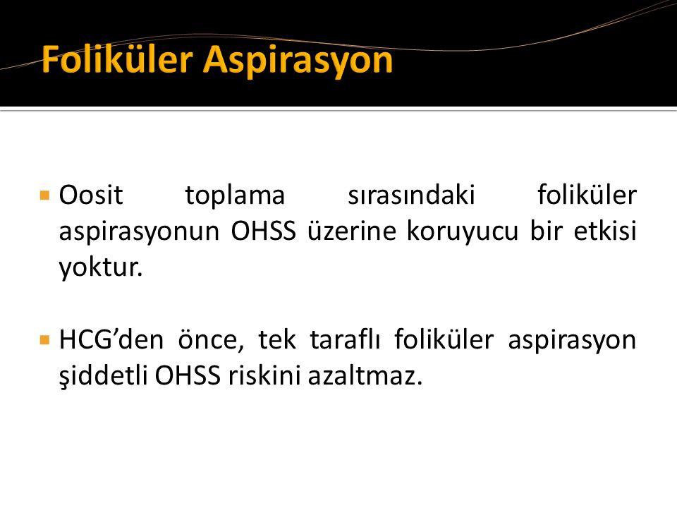 Foliküler Aspirasyon Oosit toplama sırasındaki foliküler aspirasyonun OHSS üzerine koruyucu bir etkisi yoktur.