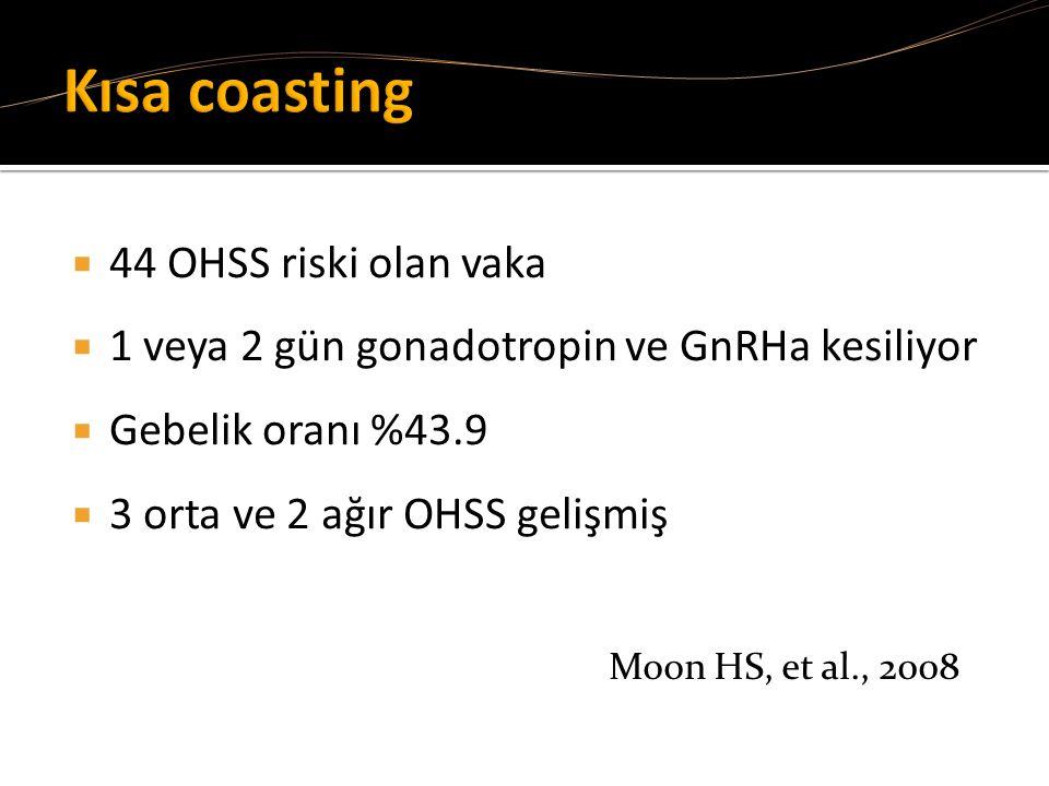 Kısa coasting 44 OHSS riski olan vaka