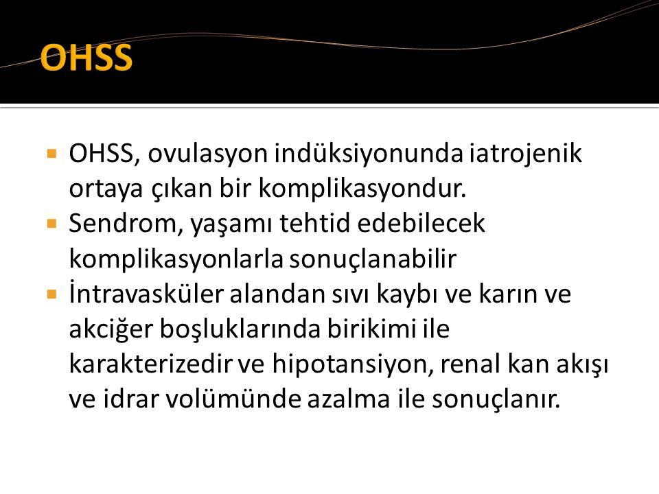 OHSS OHSS, ovulasyon indüksiyonunda iatrojenik ortaya çıkan bir komplikasyondur. Sendrom, yaşamı tehtid edebilecek komplikasyonlarla sonuçlanabilir.