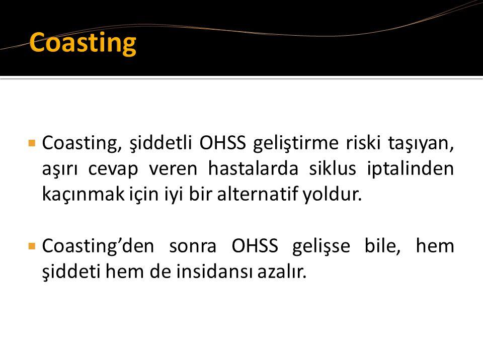 Coasting Coasting, şiddetli OHSS geliştirme riski taşıyan, aşırı cevap veren hastalarda siklus iptalinden kaçınmak için iyi bir alternatif yoldur.