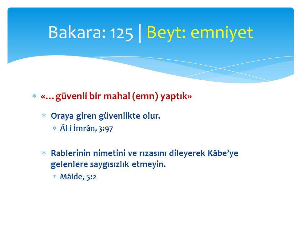 Bakara: 125 | Beyt: emniyet
