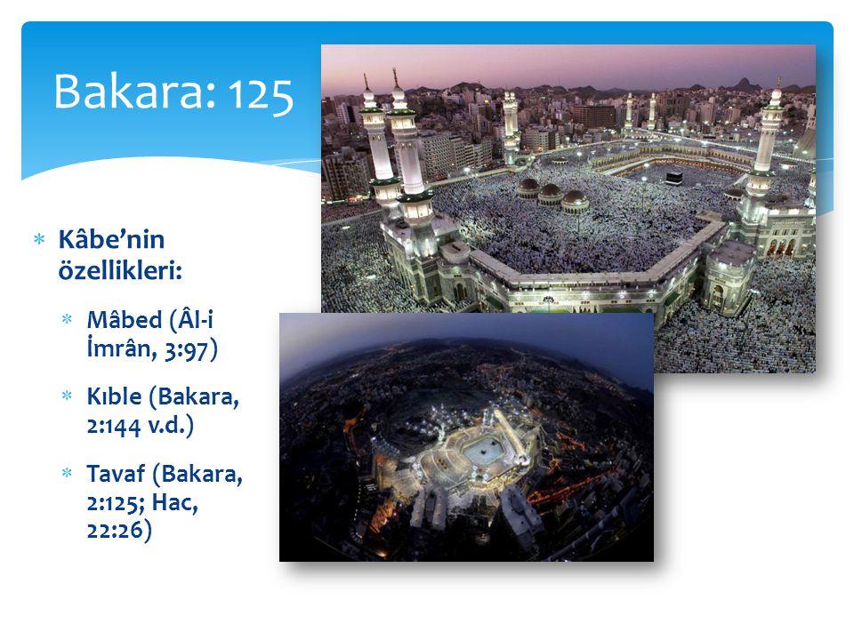 Bakara: 125 Kâbe'nin özellikleri: Mâbed (Âl-i İmrân, 3:97)