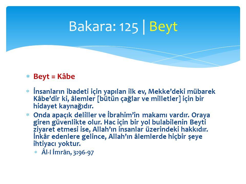 Bakara: 125 | Beyt Beyt = Kâbe