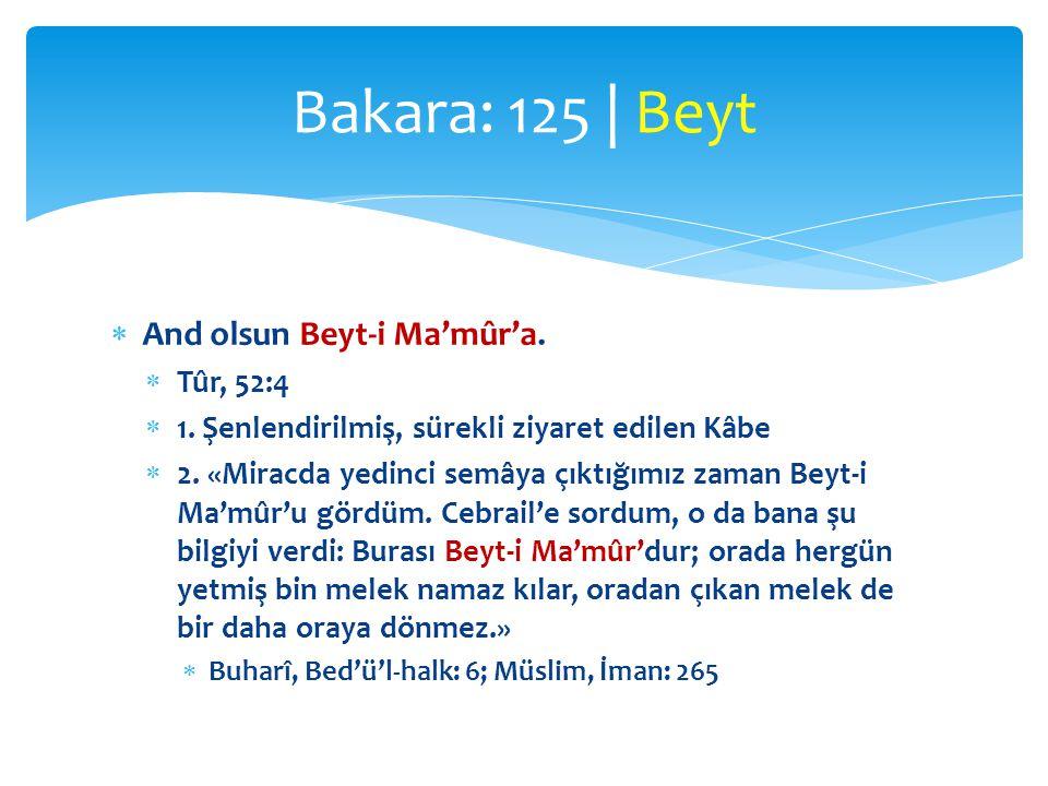 Bakara: 125 | Beyt And olsun Beyt-i Ma'mûr'a. Tûr, 52:4