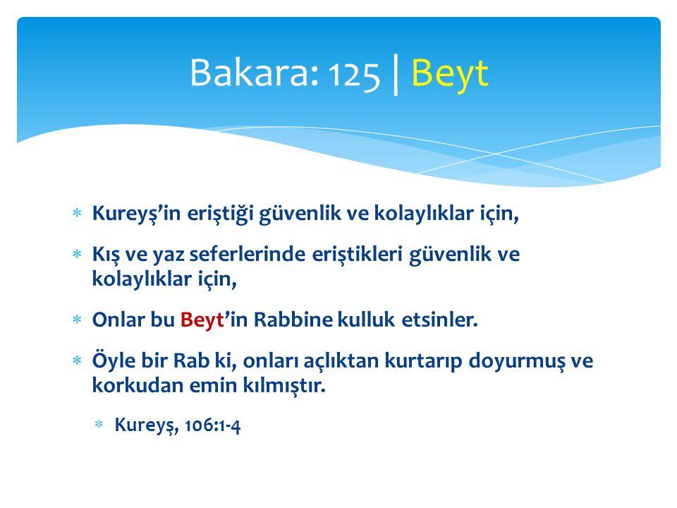 Bakara: 125 | Beyt Kureyş'in eriştiği güvenlik ve kolaylıklar için,