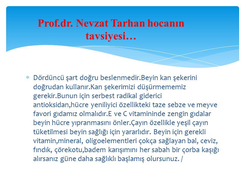Prof.dr. Nevzat Tarhan hocanın tavsiyesi…